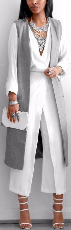 White + Grey // Blouse /hm/ , Long Vest /missguided/ , Pants (old) Zara , Heels /simmishoes/ // Fashion Look by femmeblk White Outfits, Casual Outfits, White Vest Outfit, Fashion Looks, Grey Blouse, Elegantes Outfit, Long Vests, Mode Hijab, Trends 2018