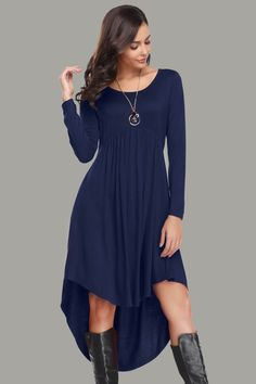 bcc2c77dcce Long Sleeve with Pockets Knee Length Dress Pleated Loose Swing Dress
