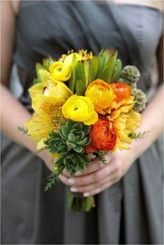 yellow and orange bouquet by Flower Girl; Photo by Graddy Photography regananderic.com