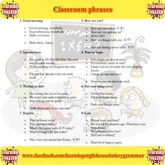 classroom sentences for teachers. English sentences for daily use in schools - learning English