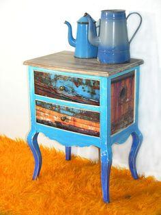 Kommode Bretagne - Decoupage mit Motiven aus der Bretagne Furniture, Home Decor, Brittany, Dresser, Upcycled Crafts, Homemade Home Decor, Home Furnishings, Decoration Home, Arredamento