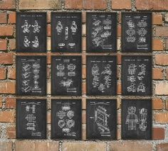 Lego Patent Prints Set of 12 Lego Wall Art door QuantumPrints