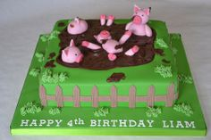 Pigsty Cake Course: Learn to create this fun farm themed cake covered with pigs and mud suitable for any occasion. This course shows you how split and level a square sponge, fill with delicious buttercream and jam, dirty-ice and expertly cover the cake with sugarpaste. You will also learn how to work with sugar flower paste to create a picket fence, modelling paste to make your own cute pigs and a personal message (if desired).
