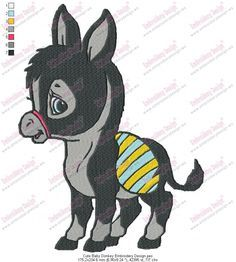 Cute Baby Donkey Embroidery Design