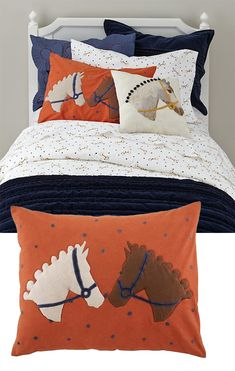 Equestrian shams and snaffle bit sheets.