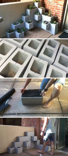 Create your own inexpensive, modern and fully customizable DIY outdoor succulent planter using cinder blocks, landscaping fabric, cactus soil, and succulents #moderninteriordesignapartment