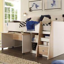 Hochbett Pierre Jugendbett mit Schreibtisch in weiß und Sonoma Eiche