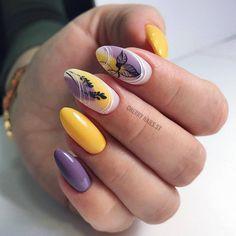 55 Best Floral Nail Art Designs 2020 - Page 45 of 55 - TipSilo Yellow Nail Art, Floral Nail Art, Yellow Nails Design, Stylish Nails, Trendy Nails, Cute Nails, Pink Nails, Gel Nails, Acrylic Nails