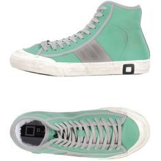 D.a.t.e. High-tops & Sneakers (€32) ❤ liked on Polyvore featuring shoes, sneakers, green, leather sneakers, green high top sneakers, high top trainers, hi tops and leather shoes