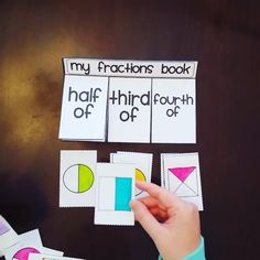 Fractions book to practice half of, third of, and fourth of shapes in such a fun way! 3rd Grade Fractions, Teaching Fractions, Math Fractions, Teaching Math, Fractions For Kids, Dividing Fractions, Fractions Worksheets, Equivalent Fractions, Fraction Games