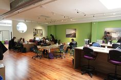 Color as communication tool: Aside from green and brown ( as seen at Sandbox Union Square in San Francisco), there are many color schemes which create a welcoming and productive atmosphere for members. Click on the picture to read more.