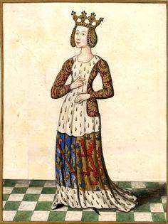 Béatrix de Bourgogne, dame de Bourbon, femme de Robert de France, comte de Clermont, †1310. Dessin d'après l'Armorial Revel, f°8 (Gaignières 238). -- Cotte armoriée Clermont & Bourbon ancien.
