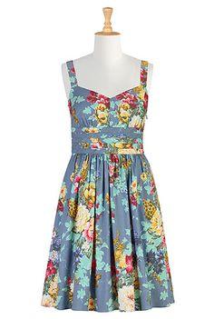 Normally I don't go for crazy florals, but I love this dress! eShakti Floral stretch denim dress