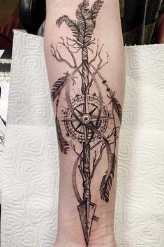 18 Amazing and Unforgettable Arrow Tattoo Designs - Arrow Compasses . - 18 Amazing And Unforgettable Arrow Tattoo Designs – Arrow Compass Tattoo Idea With Nature Theme # - Arrow Compass Tattoo, Compass Tattoo Design, Arrow Tattoo Design, Owl Tattoo Design, Mandala Tattoo Design, Henna Tattoo Designs, Feather Arrow Tattoo, Arrow Design, Forearm Tattoos