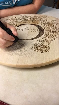 Lazy susan – Wooden turntable – personalized lazy susan – customized serving tray – Housewarming gift – wedding gift- five year anniversary – Wood Burning Pattern Wood Burning Crafts, Wood Burning Patterns, Wood Burning Art, Wood Burning Projects, Wood Burning Stencils, Diy Wood Projects, Wood Crafts, Woodworking Projects, Youtube Woodworking