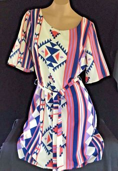 Womens Dress Geometric Hello Miss Small Medium #Hellomiss #OverallDress