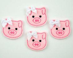 PIG - Embroidered Felt Embellishments / Appliques - Pink (Qnty of Felt Animal Patterns, Stuffed Animal Patterns, Pig Crafts, Felt Crafts, Fun Arts And Crafts, Crafts To Make, Felt Fabric, Fabric Scraps, Silvester Diy