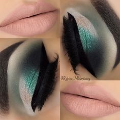 Soft cut-crease look with teal