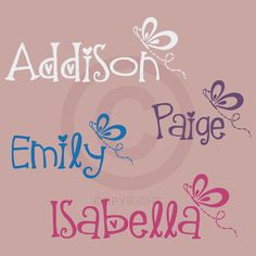 Personalized NAME Monogram with BUTTERFLY Accent Girl Bedroom wall decal vinyl lettering (W00585). $12.99, via Etsy.