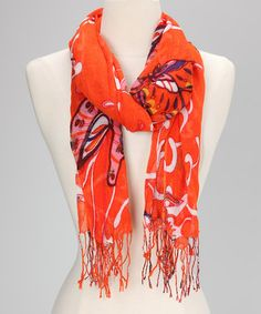 Take a look at this Orange Madame Butterfly Scarf by Veond on #zulily today!