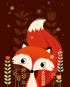 Arte animal de bosque vivero de Fox impresión por IreneGoughPrints