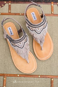 The Dancing Gypsy Emblished Suede Fringe  Sandals In Taupe $46.00 - NanaMacs.com