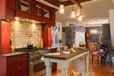 New England Vintage Farm - farmhouse - Kitchen - Boston - New England Design Elements Farmhouse Kitchen Island, Kitchen Redo, Kitchen Styling, Kitchen Dining, Kitchen Ideas, New England Farmhouse, Cabin Kitchens, Happy Kitchen, Rustic Cottage