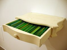 Anu Tuominen exhibit at the Nordic Watercolor Museum, Sweden, Green plastic combs in a small drawer. See more of Anu's fantastic art here: www. Installation Art, Art Installations, Nordic Art, Small Drawers, Arts And Crafts, Sculpture, Knitting, Creative, Worthless