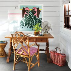 Whimsical Workspace | Vintage furnishings, authentic materials, and new outdoor living spaces took this 19th-century Harbour Island cottage from shack to chic.