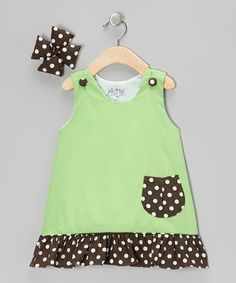 Look what I found on #zulily! Green & Brown Jumper & Bow Clip - Toddler & Girls by Molly Pop Inc. #zulilyfinds