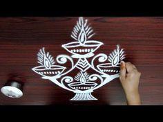 rangoli designs with dots || Deepam kolam with 7 to 1 Straight dots || sivarathiri peacock kolam - YouTube