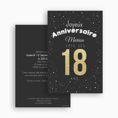 chic theme birthday card to personalize with your invitation text on carteland: French manufacturing and quality. Invitation Text, Diy Invitations, 18th Birthday Party, Birthday Cards, Themes Photo, Diy Organization, Scrapbook Cards, Birthday Decorations, Chic