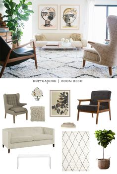 Copy Cat Chic: Copy Cat Chic Room Redo | Cozy Mid-Century Living Room by @audreycdyer