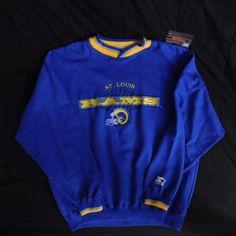 Vintage STARTER NFL St Louis Rams Blue Throwback Crewneck Sweater MENS XL | eBay