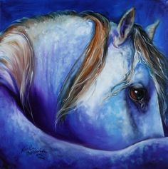 """""""BLUE MOONSTRUCK ARABIAN"""" by Marcia Baldwin, Shreveport, Louisiana // If you have ever seen a horse in pasture with a full moon in the sky, you will recognize the beauty of a moonstruck creature. It is so beautiful. Enjoy fine art prints here on Imagekind ~ and Thank you for supporting original art by Marcia Baldwin. The original of this image... // Imagekind.com -- Buy stunning fine art prints, framed prints and canvas prints directly from independent working artists and photographers."""