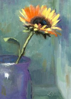 """Sunflower""    oil 5x7     click here for pricing     Sunflowers are fun to paint and they have such a warm glow to them,    the yell..."