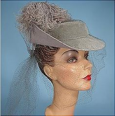 "c. 1938 I. Magnin, Custom Made Felt and Velvet Two-Tone Gray ""Three Musketeers"" Hat with Ostrich Feather"