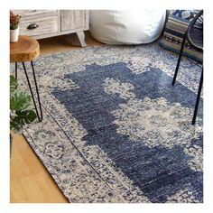 Alfombra de algodón 100% de 160x240 cm en tonos azules y beiges. Una alfombra grande y con cuerpo para habitaciones y salones.
