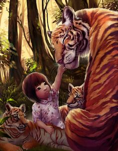 Ally and the Tigers by ~Lumichi on deviantART