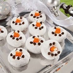 Snowman Mini Donuts - Christmas Dessert Recipes, Holiday Sweet Treats - Click image to find more popular food