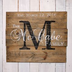 Custom Name Sign, Pallet Last Name Wood Sign, Rustic Family Established Sign, Distressed Personalized Name Sign, Personalized Wedding Gift, by EverydayCreationsJen on Etsy https://www.etsy.com/listing/223330022/custom-name-sign-pallet-last-name-wood