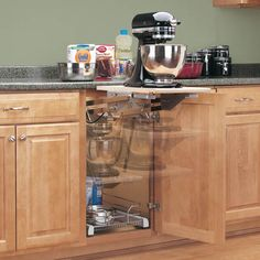 Mixer/Appliance Lift Mechanism without Shelf YES! YES! WANT! :-)  maybe where the micro dishwasher is, with the broiler/toaster oven on it. Would give me more counter space. cmm