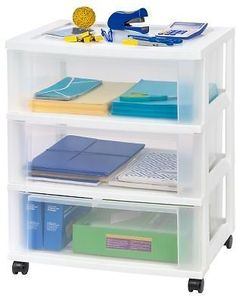IRIS® 3-Drawer Wide Storage Cart, White (124005): *Free Pick Up In Store #coupons #discounts