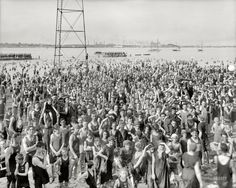 "Detroit, Michigan, circa 1917. ""Bathing beach at Belle Isle Park."""