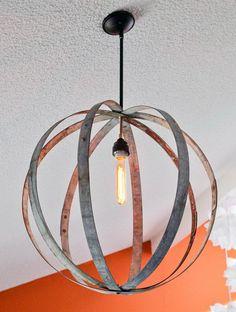 Wine Barrel Ring Chandelier. http://hative.com/cool-diy-chandelier-ideas-for-inspiration/