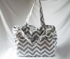 Chevron diaper bag with zippered closure - Grey chevron baby bag - zig zag medium weekender -Made to Order on Etsy, $65.00