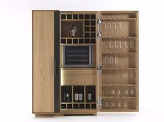 Solid wood bar cabinet CAMBUSA WINE