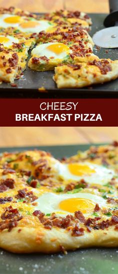 Cheesy Breakfast Pizza topped with crumbled bacon, sharp cheddar cheese, and sunny-side up eggs. Hearty and delicious, it's the best way to start your day! #pizzarecipe #breakfastpizza #pizza