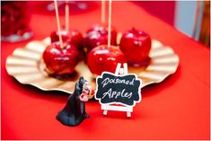 Candied apples from Crimson Red Snow White Birthday Party at Kara's Party Ideas. See this party and more at karaspartyideas.com!