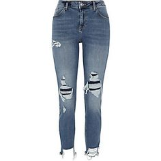 Ripped Relaxed Fit Skinny Jeans from River Island Super Skinny Ripped Jeans, Blue Ripped Jeans, Distressed Denim Jeans, Superenge Jeans, River Island, Island Blue, Polyvore, Jeggings, Cinema